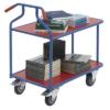Kép 2/2 - Optiliner asztal-kocsi, terhelhetőség: 400 kg, rakodó-felület: 900x600 mm, színe: kék/piros, HxSzxM: 1050x600x975 mm