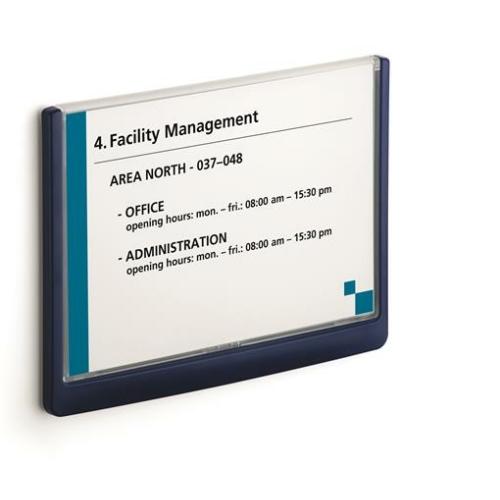 """Információs tábla, 148,5x210 mm, DURABLE """"CLICK SIGN"""", kék"""