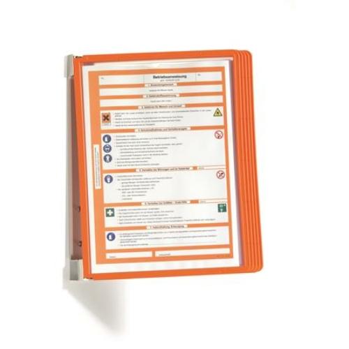 """Bemutatótábla tartó, fali, 5 db bemutatótáblával, DURABLE """"VARIO® WALL 5"""", narancssárga"""