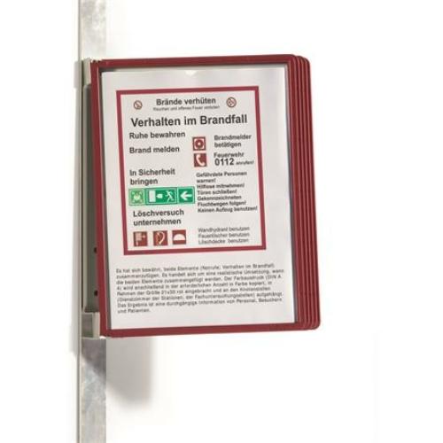 """Bemutatótábla tartó, fali, mágneses, 5 db bemutatótáblával, DURABLE """"VARIO® 5 MAGNET"""", piros"""