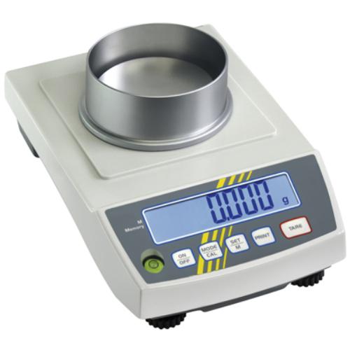 Precíziós-mérleg, gyűrű-formátumú nemesacél mérő-tányér, átmérő: 105 mm, mérési tartomány: 200 g