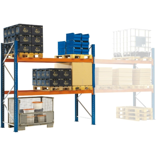Raklaptároló polcrendszer, Bővítő egység, 2 szint, Teherbírás 3000 kg