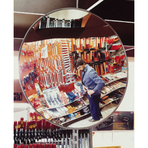 Örző- ellenőrző tükör, kül- és beltéri használatra, anyaga: akril-üveg, fali-tartóval, tükör átmérő: 500 mm, max: 5 m kontroll-távolság