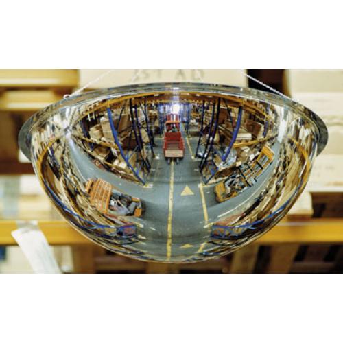 Félgömb alakú tükör, beltéri használatra, anyaga: akril-üveg, tükör átmérő: 1000 mm, max: 6 m kontroll-távolság