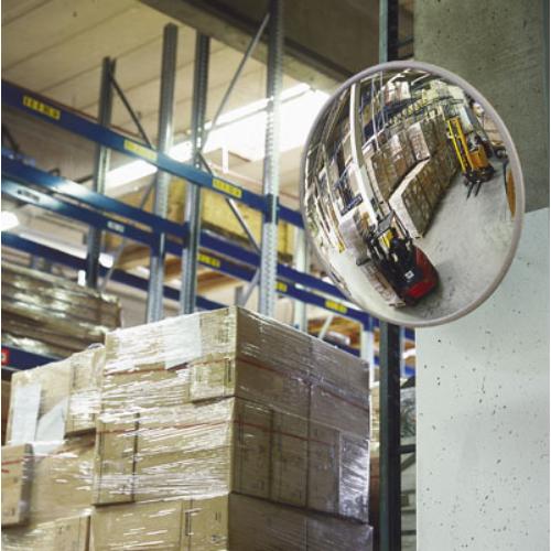 Ipari-tükör speciális műanyagból, kül- és beltéri használatra, fali-tartóval, tükör átmérő: 400 mm, max: 3 m kontroll-távolság