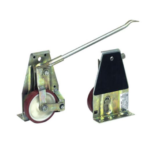 Emelő-roller, anyaga: horganyzott acél-alváz, felfekvő felület gumi-betéttel, a készlet áll: 2 dbemelő-roller + 1 db emelő-rúd