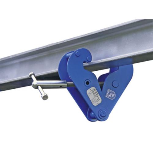 Tartozék elektromos láncos csörlőhöz: tartó-sínhez csíptető felfüggesztéshez, szolíd acél konstrukció, orsós szorító rögzítővel