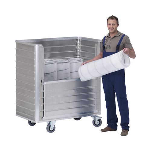 Alumínium doboz-kocsi a hosszanti oldalon lehajtható kivágással, sima falak, SzxMéxM: 530x930x985 mm
