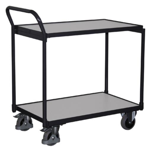 Asztal-kocsi tolókengyellel, 2 db rakodó szinttel, ESD-kivitelű, 2 db rögzíthető beálló-kerékkel, SzxMéxM: 1130x624x980 mm