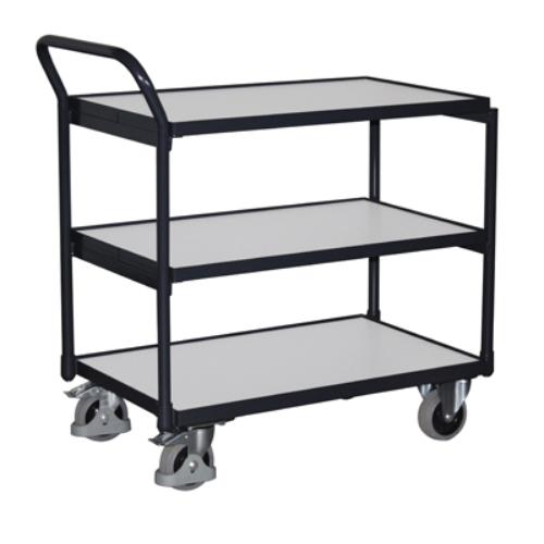 Asztal-kocsi tolókengyellel, 3 db rakodó szinttel, ESD-kivitelű, 2 db rögzíthető beálló-kerékkel, SzxMéxM: 975x524x980 mm