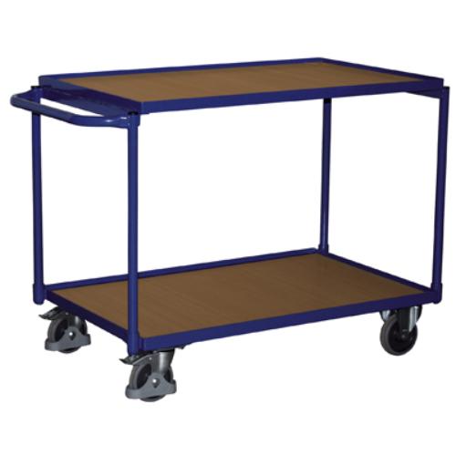 Asztal-kocsi tolókengyellel, 2 db rakodó szinttel, 2 db rögzíthető beálló-kerékkel, SzxMéxM: 1023x524x820 mm