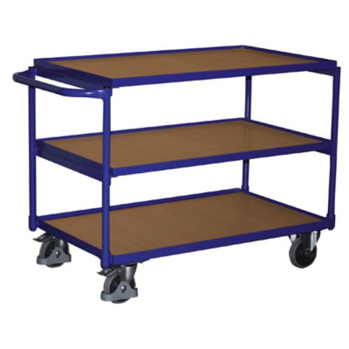 Asztal-kocsi tolókengyellel, 3 db rakodó szinttel, 2 db rögzíthető beálló-kerékkel, SzxMéxM: 1173x624x820 mm