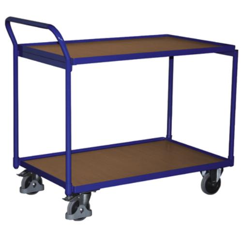 Asztal-kocsi tolókengyellel, 2 db rakodó szinttel, 2 db rögzíthető beálló-kerékkel, SzxMéxM: 1125x624x980 mm