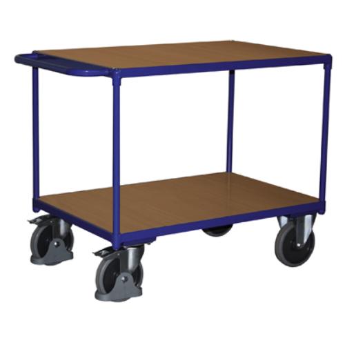 Asztal-kocsi tolókengyellel, nagy terheléshez, 2 db rakodó szinttel, 2 db rögzíthető beálló-kerékkel, SzxMéxM: 1190x700x915 mm