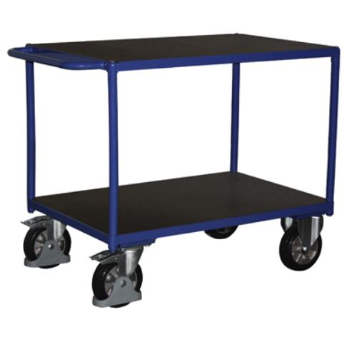 Asztal-kocsi tolókengyellel, 1000 kg-os terheléshez, 2 db rakodó szinttel, 2 db rögzíthető beálló-kerékkel, SzxMéxM: 1190x700x915 mm