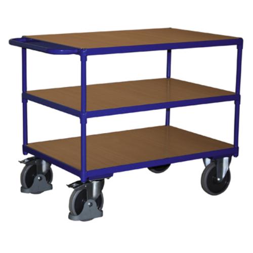 Asztal-kocsi tolókengyellel, nagy terheléshez, 3 db rakodó szinttel, 2 db rögzíthető beálló-kerékkel, SzxMéxM: 1390x800x915 mm