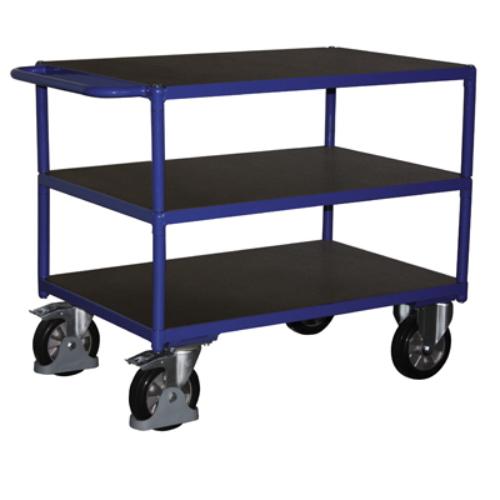 Asztal-kocsi tolókengyellel, 1000 kg-os terheléshez, 3 db rakodó szinttel, 2 db rögzíthető beálló-kerékkel, SzxMéxM: 1790x800x915 mm