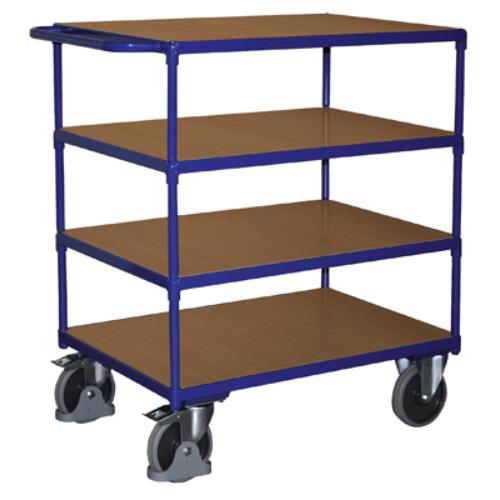 Asztal-kocsi tolókengyellel, nagy terheléshez, 4 db rakodó szinttel, 2 db rögzíthető beálló-kerékkel, SzxMéxM: 1390x800x1230 mm