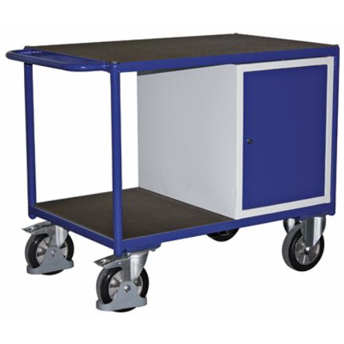 Asztal-kocsi tolókengyellel, 2 db rakodó szinttel, acél-szekrénnyel 1000 kg-os terhelhetőséghez, 2 db rögzíthető beálló-kerékkel