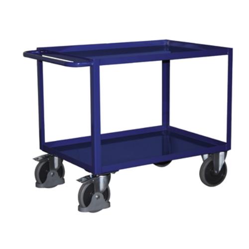 Asztal-kocsi tolókengyellel, 2 db rakodó szinttel, szilárdan hegesztve, 2 db rögzíthető beálló-kerékkel, SzxMéxM: 993x508x859 mm