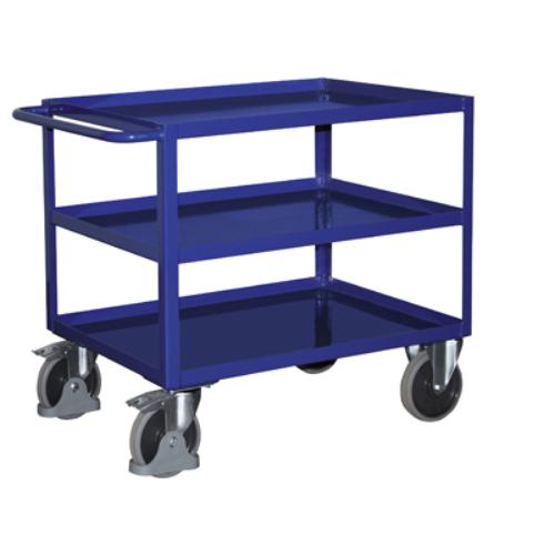 Asztal-kocsi tolókengyellel, 3 db rakodó szinttel, szilárdan hegesztve, 2 db rögzíthető beálló-kerékkel, SzxMéxM: 993x508x859 mm