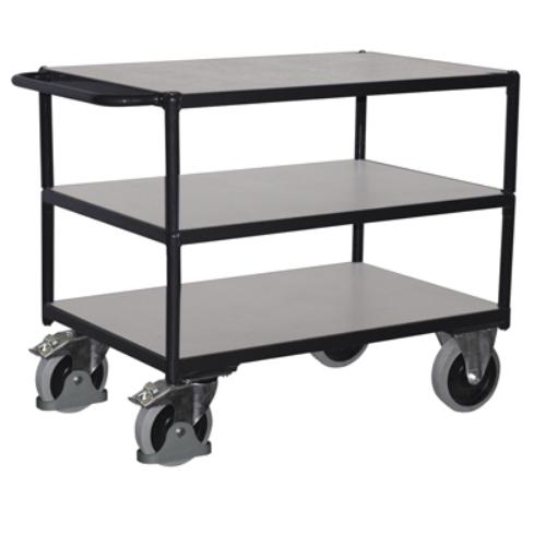 Asztal-kocsi nagy terheléshez, 3 db rakodószinttel, ESD, SzxMéxM: 1190x600x915 mm, rakodó felület: 1000x600 mm