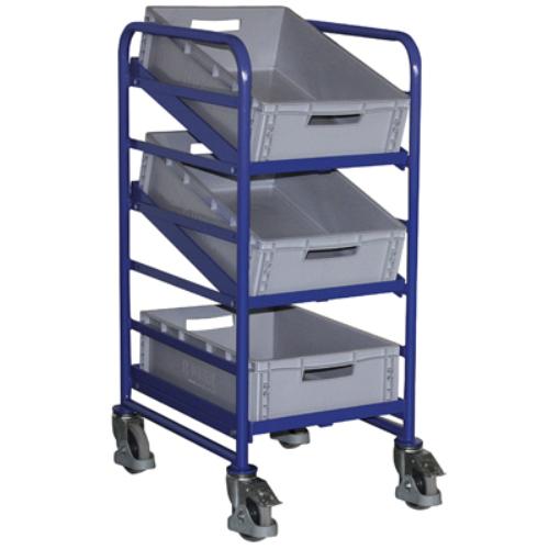 Euró-láda szállító-kocsi, 3 db műanyag-ládával, 2 db rögzíthető beálló-kerékkel, SzxMéxM: 520x665x1125 mm