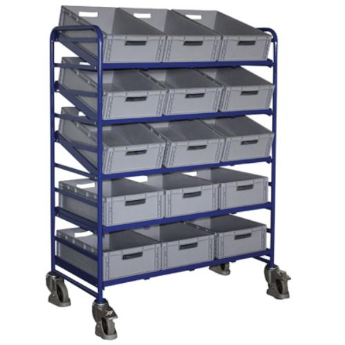 Euró-láda szállító-kocsi, 5 db nyitott kerettel és 15 db műanyag-ládával, 2 db rögzíthető beálló-kerékkel, SzxMéxM: 1350x665x1125 mm