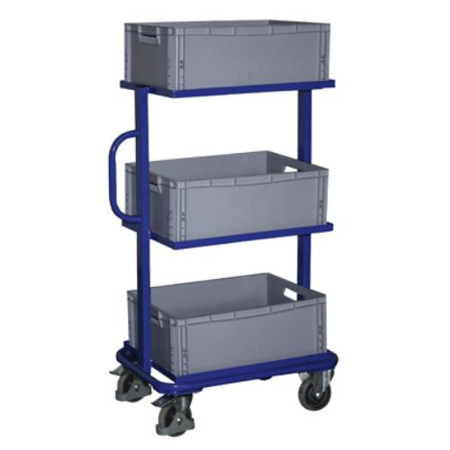 Hozzáállítható-kocsi, 3 db nyitott kerettel és 3 db műanyag-ládával, 2 db rögzíthető beálló-kerékkel, SzxMéxM: 818x455x1332 mm