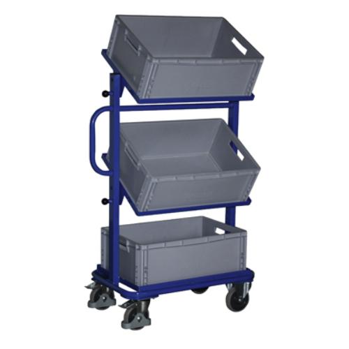 Hozzáállítható-kocsi, 3 db nyitott kerettel és 3 db műanyag-ládával, 2 db rögzíthető beálló-kerékkel, SzxMéxM: 818x455x1342 mm