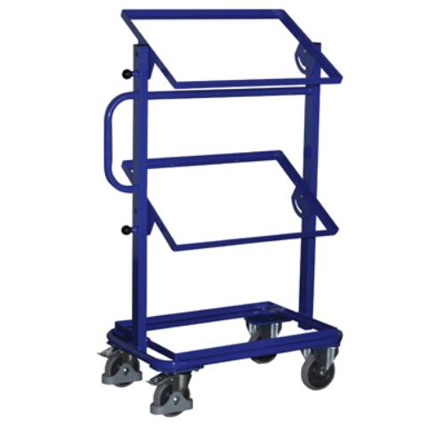 Hozzáállítható-kocsi, 3 db nyitott kerettel polc nélkül, 2 db rögzíthető beálló-kerékkel, SzxMéxM: 818x455x1160 mm