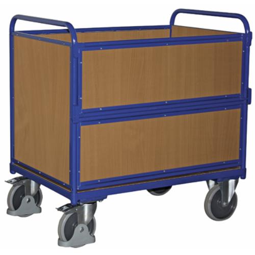 Dobozos-kocsi fa oldal-falakkal, 2 db rögzíthető beálló-kerékkel, SzxMéxM: 1060x715x1091 mm