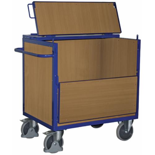Dobozos-kocsi fa oldal-falakkal, szilárdan hegesztett, fedéllel, 2 db rögzíthető beálló-kerékkel, SzxMéxM: 1130x732x1109 mm